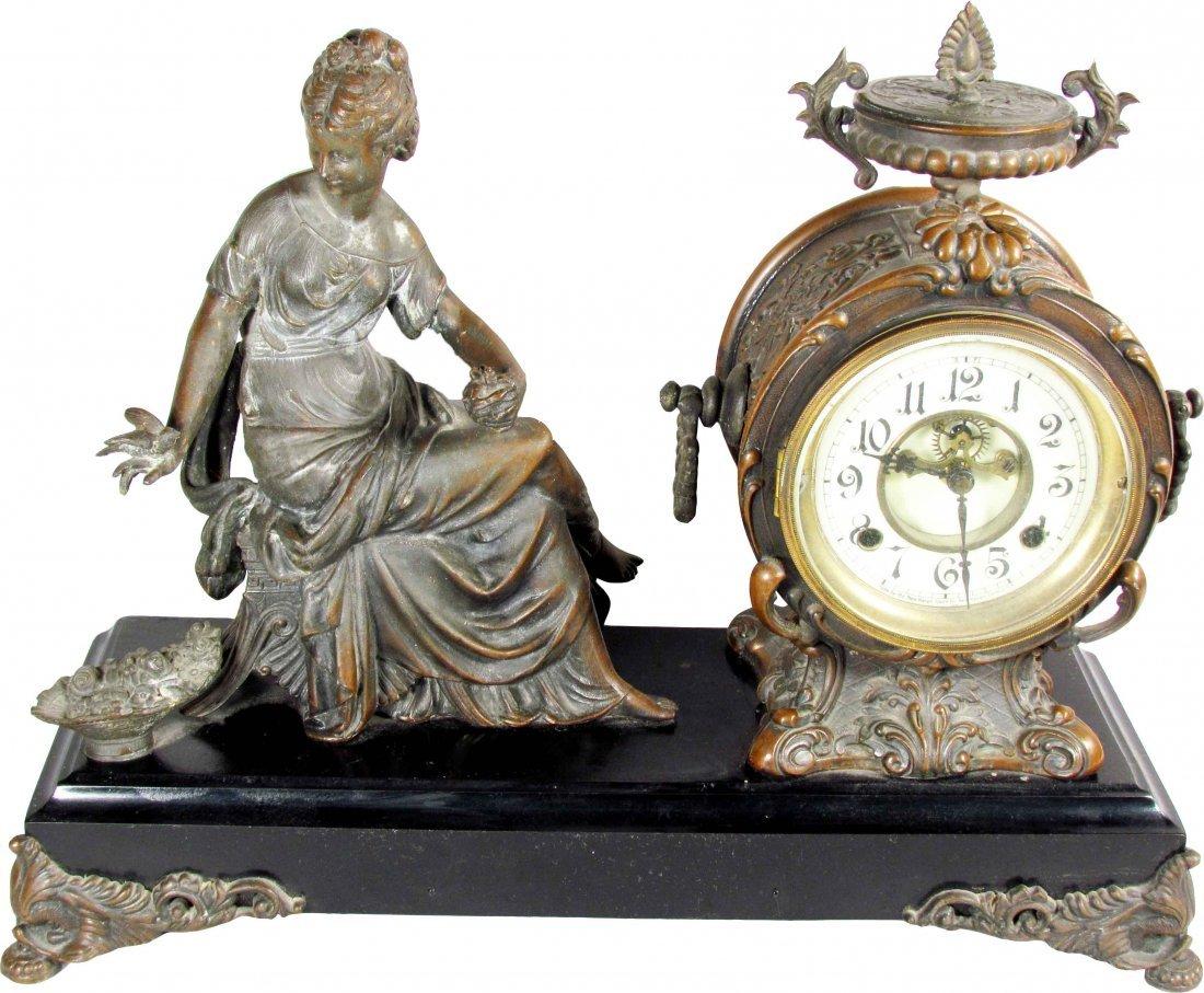 New Haven Clock Co. Figural Mantle Clock