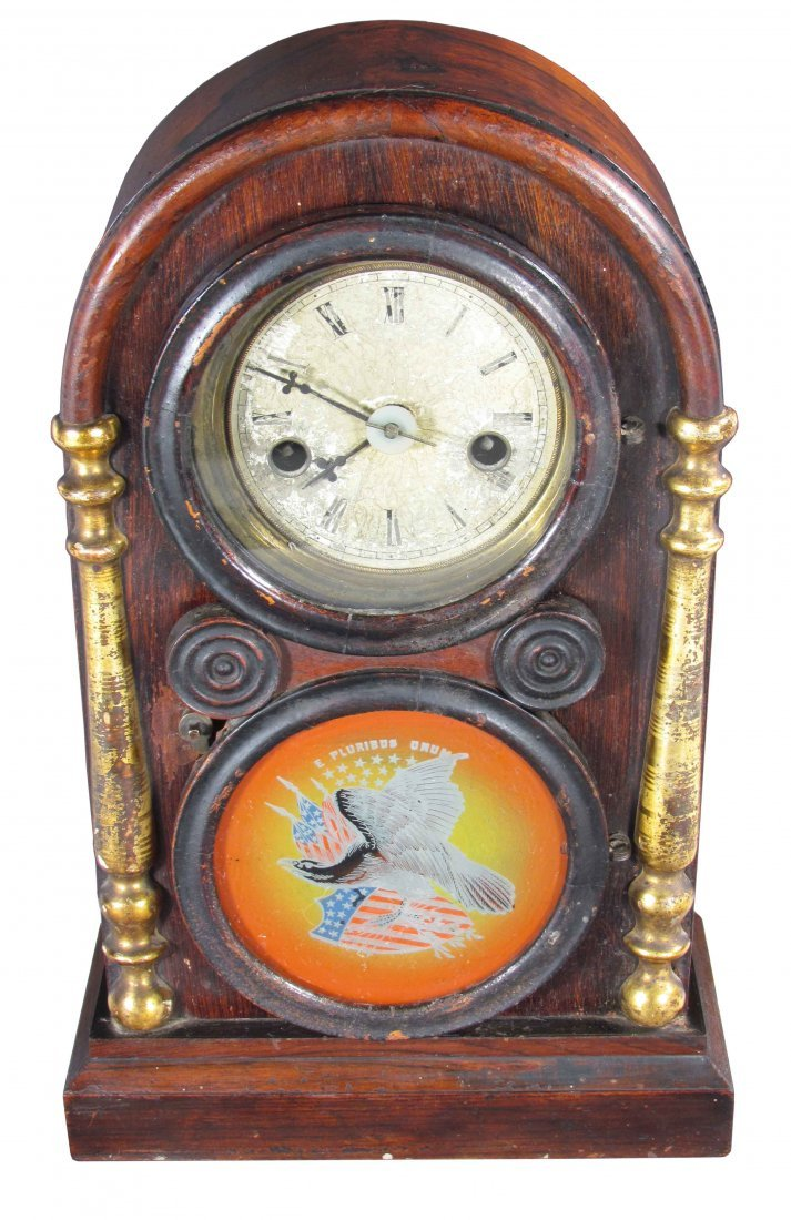 Ca. 1900 Tombstone Style Mantle Clock