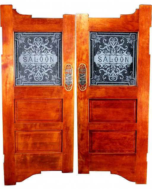 Pair Of Etched Glass Oak Saloon Doors