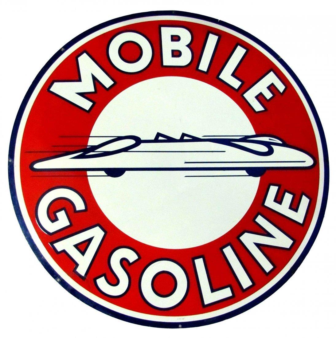 Rare Mobile Gasoline 2-Sided Porcelain Sign