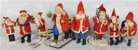 Eight Japanese Santa Claus Figures