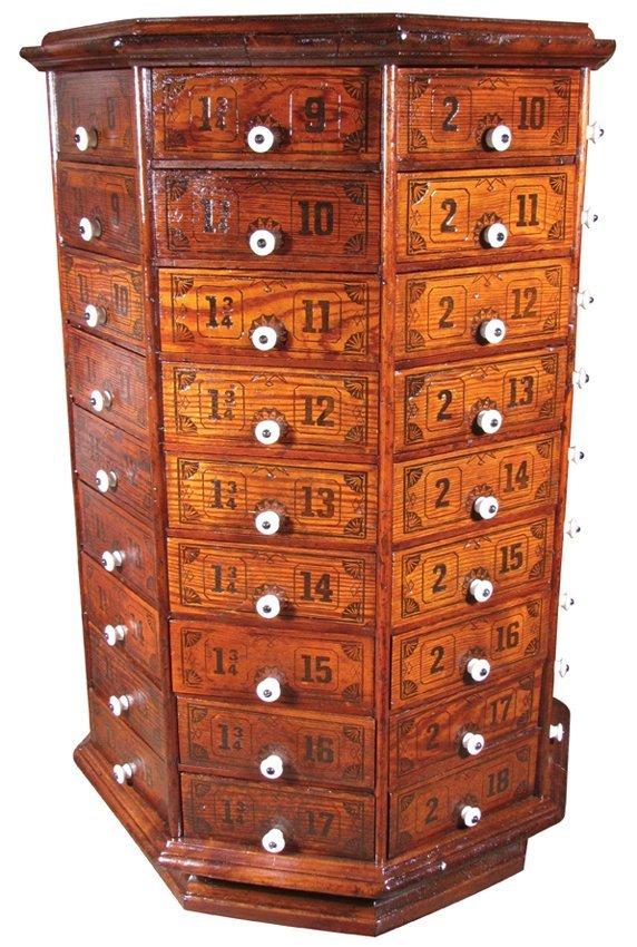 Small Hexagon Hardware Bolt Cabinet
