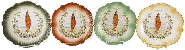 Four Round Oak Stove Advertising Plates