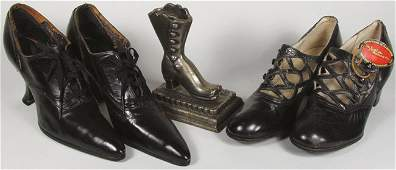 Two Pair of Antique Ladies Shoes  Match Holder