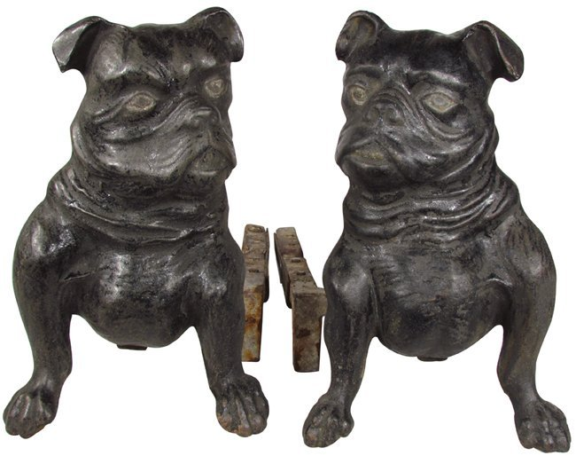 iron figural fireplace grate holders