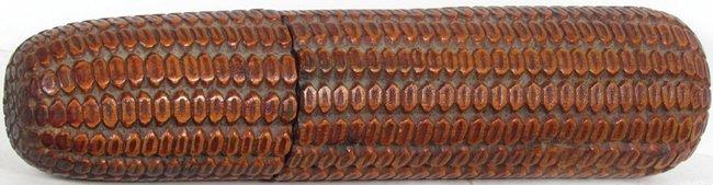 Carved Wood Corn Cob Crochet Hook Holder