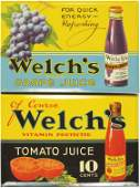 Two Welchs  Beveled Tin Over Cardboard Signs