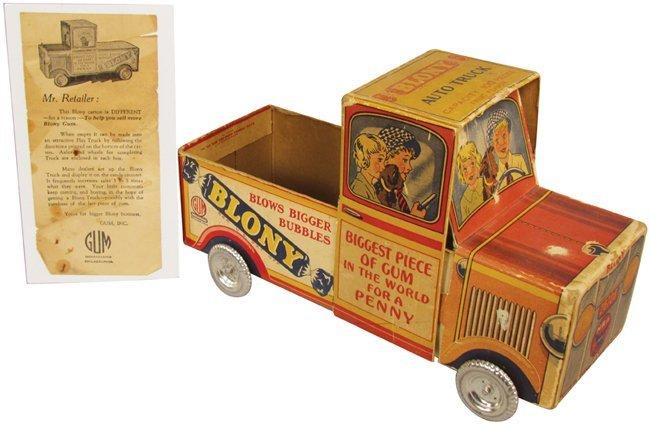 Blony Bubble Gum Cardboard Truck Adv. Display
