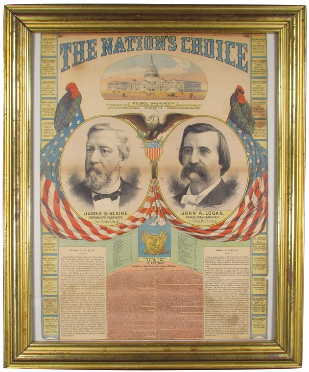 1884  Political Poster for Republican Candidates
