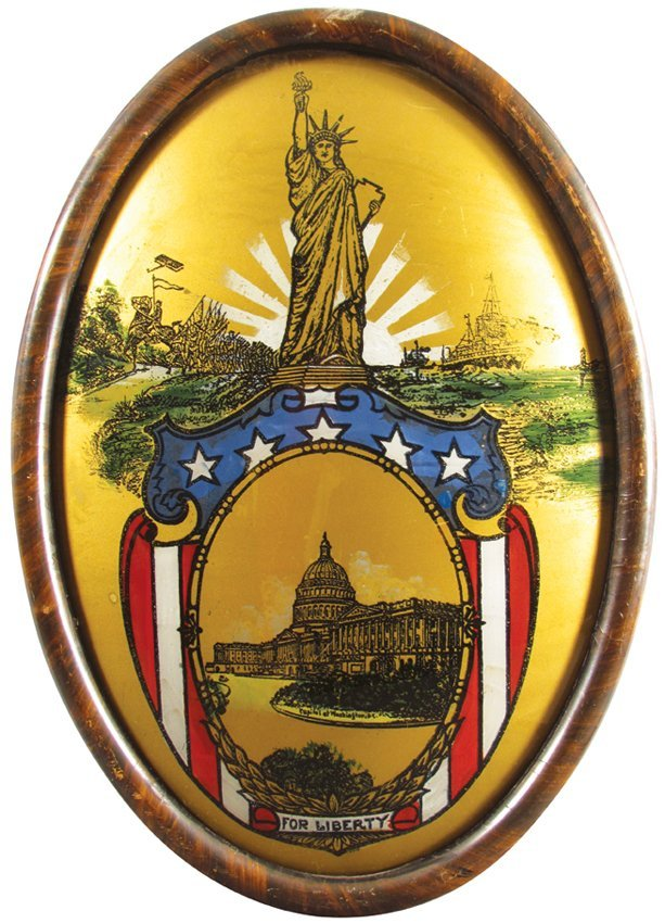 Reverse Painted Glass Depicting Lady Liberty