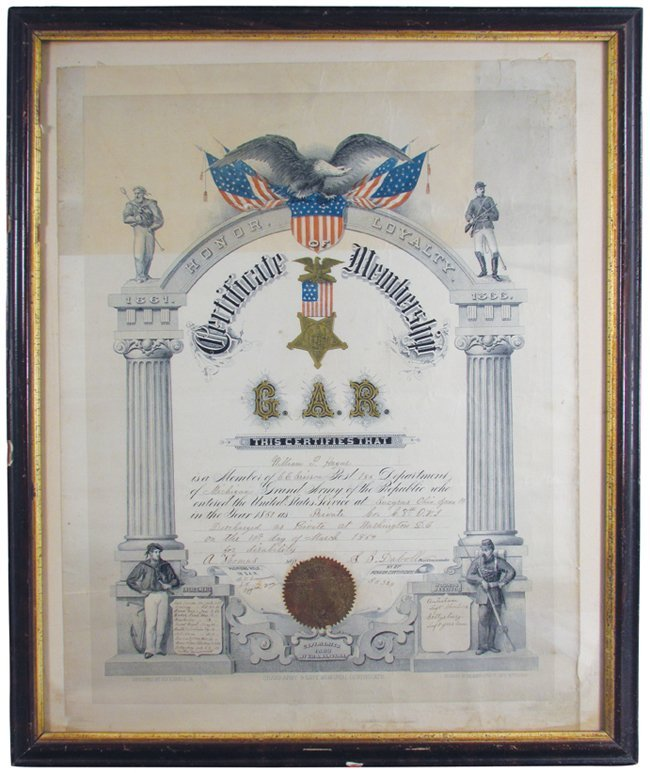 Certificate of Membership for the G.A.R. 1864