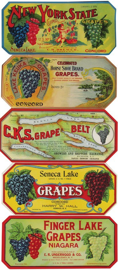 Collection of Vintage Grape Crate Labels
