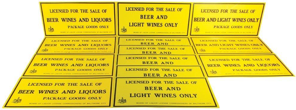 Quantity of Baltimore City Liquor License Signs
