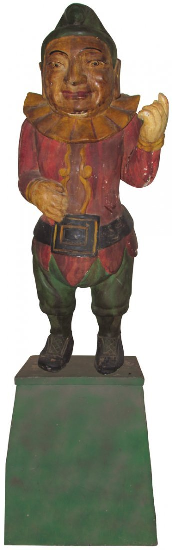 Late 1800's Punch Cigar Store Wood Figure