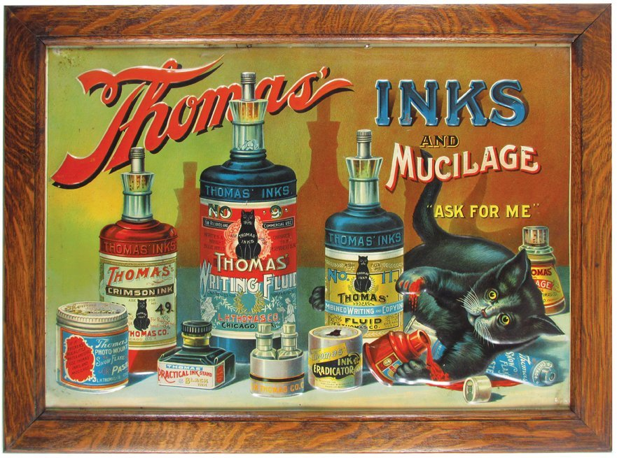 Thomas' Inks and Mucilage Tin Sign