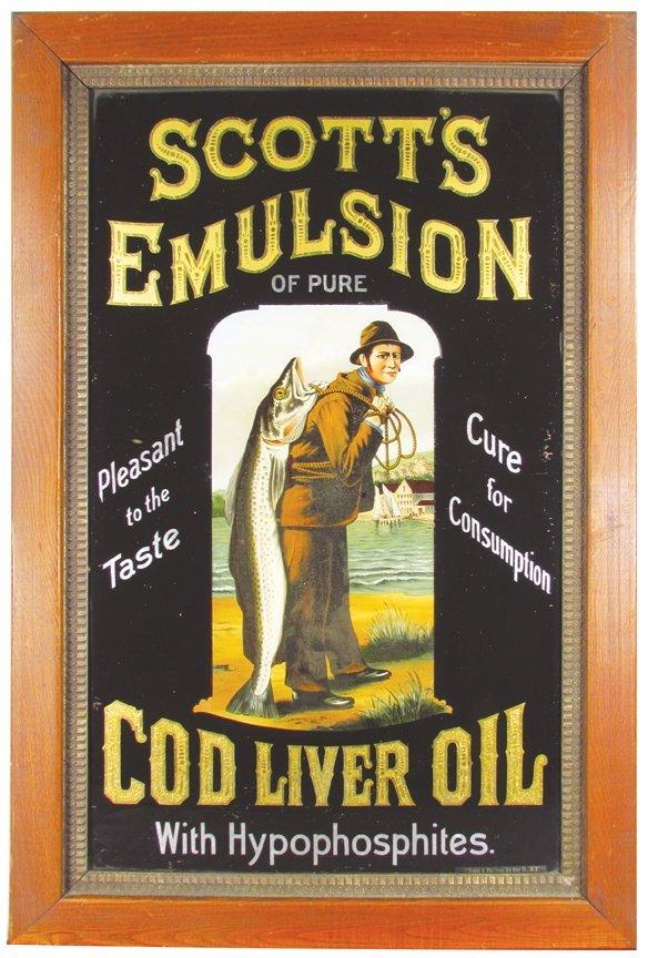 Scott's Emulsion Reverse Glass Sign
