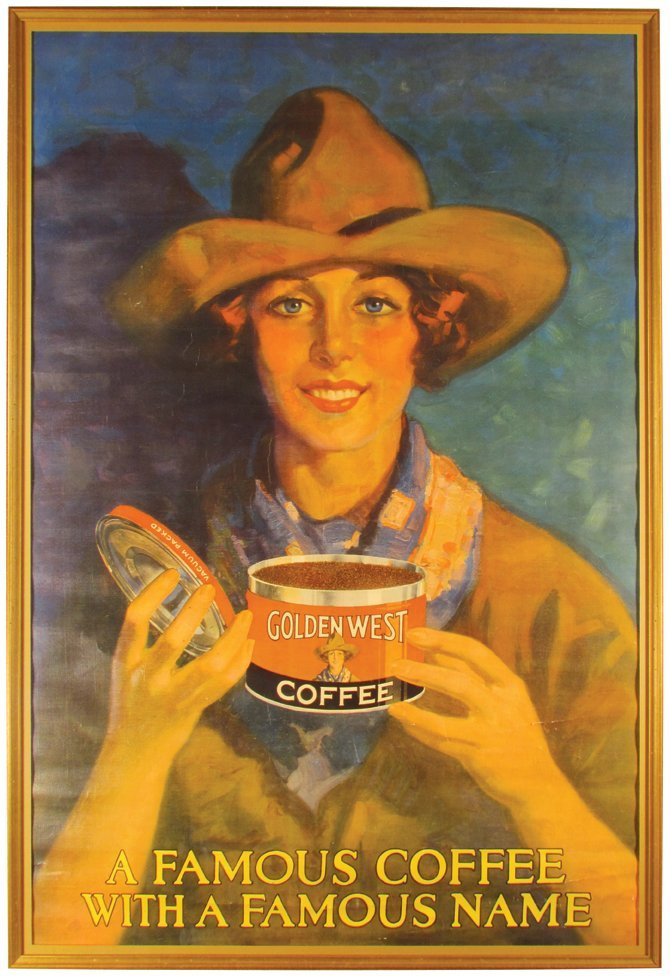 Rare Golden West Coffee Cowgirl Poster