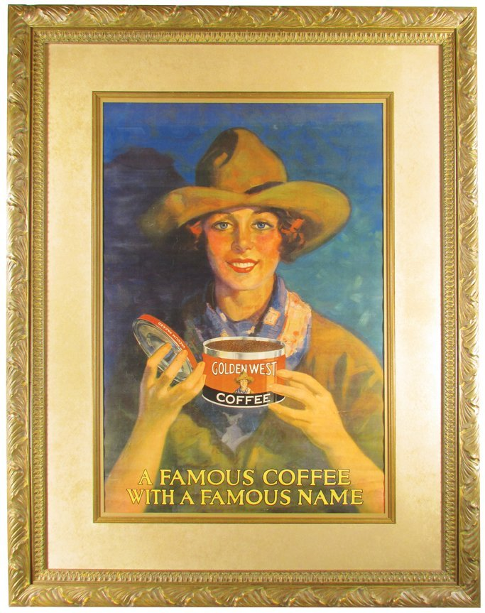Rare Golden West Coffee Cowgirl Poster - 2