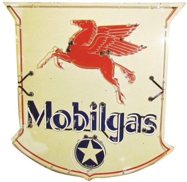 1934 Mobilegas Porcelain Neon Sign