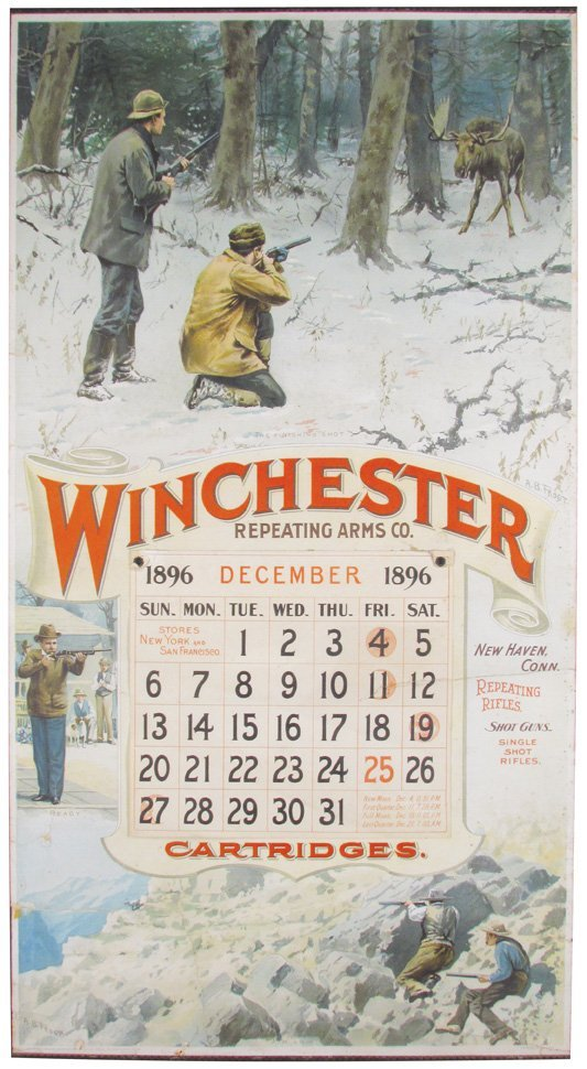 1896 Calendar for Winchester Repeating Arms Co.
