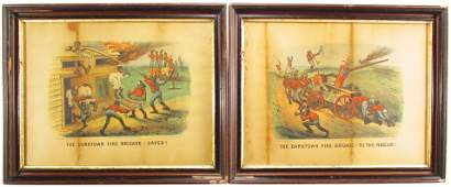Two Currier  Ives Darktown Prints