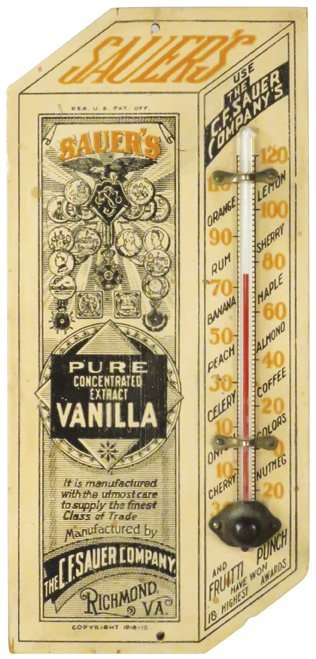 C.F. Sauer's Co. Wood Thermometer