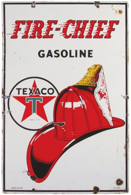 Fire Chief Gasoline Porcelain Sign