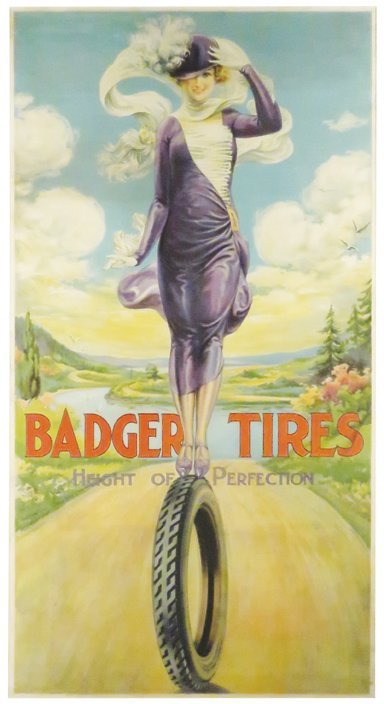 Rare Badger Tires Paper Sign