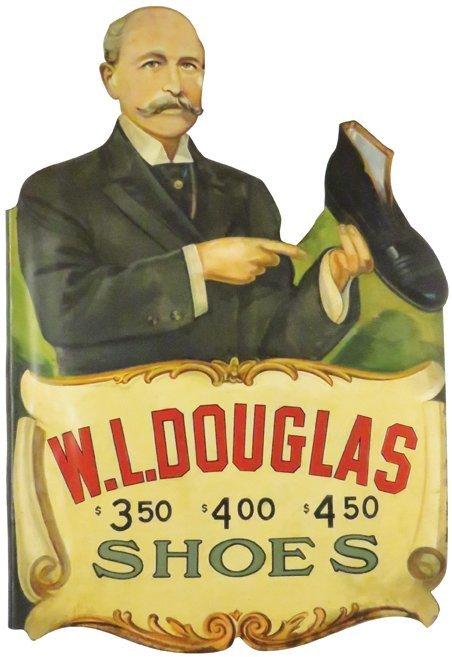 W.L. Douglas Shoe Co. Die Cut Tin Flange Sign