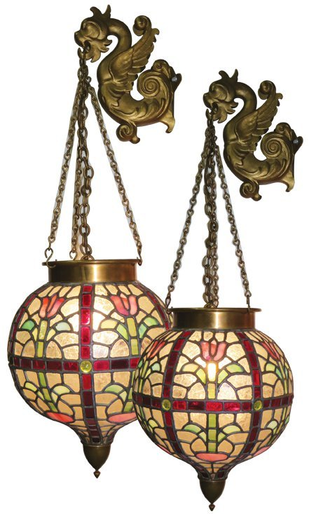 Pair of Leaded Glass & Jeweled Apothecary Globes
