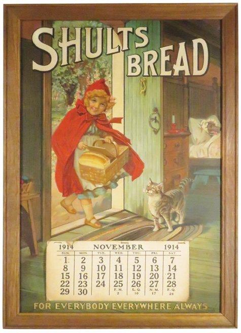 1914 Cardboard Calendar for Shults Bread