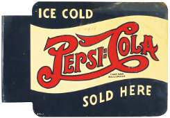 Pepsi Cola Double Dot Tin Flange Sign