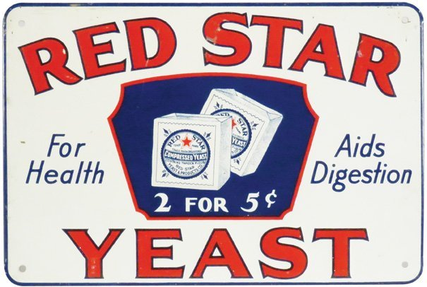 Red Star Yeast Embossed Tin Sign