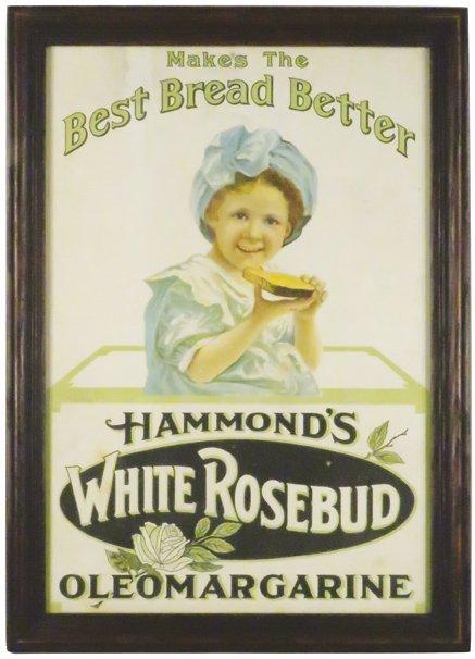 Hammond's White Rosebud Oleomargarine Sign