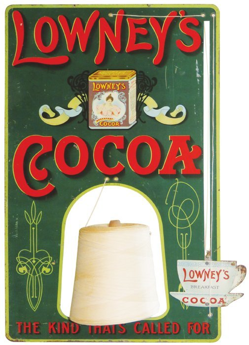 Lowney's Cocoa Die Cut Tin String Holder