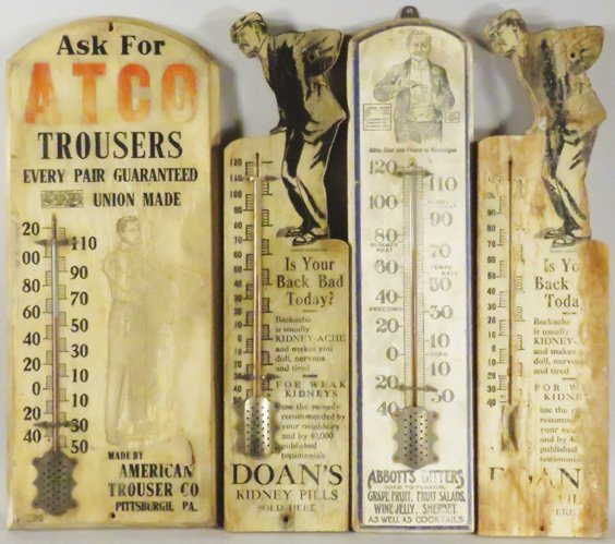 Collection of Wood Advertising Thermometers