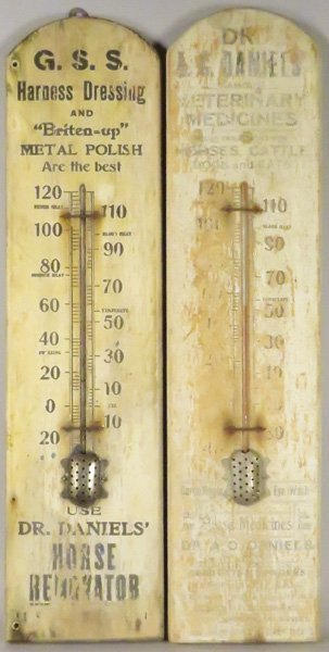 Two Wood Advertising Thermometers