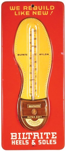 Biltrite Heels & Soles Embossed Tin Thermometer