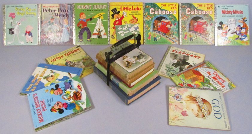 Early Book Carrier and Collection of Books