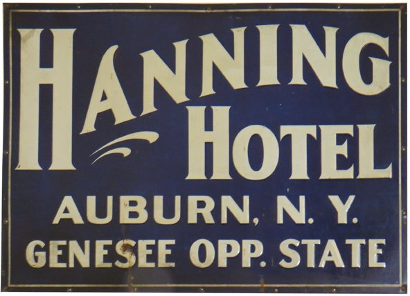 Hanning Hotel Embossed Tin Sign