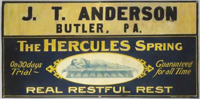 The Hercules Spring Mattress Embossed Tin Sign