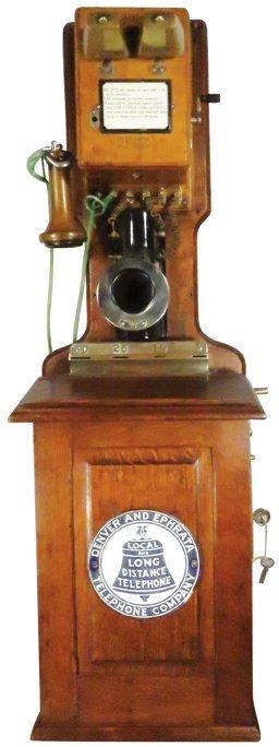 Early Oak Wall Mount Pay Telephone