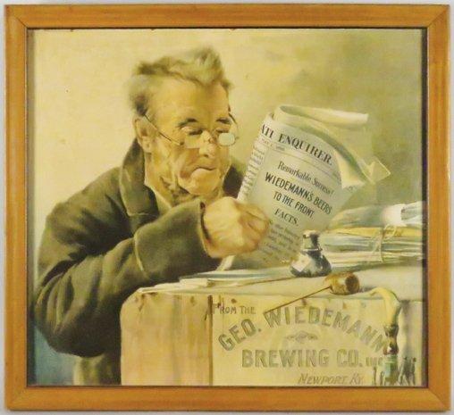 Geo. Wiedemann's Brewing Co. Cardboard Sign