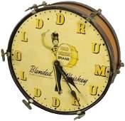 Old Drum Brand Whiskey Advertising Clock