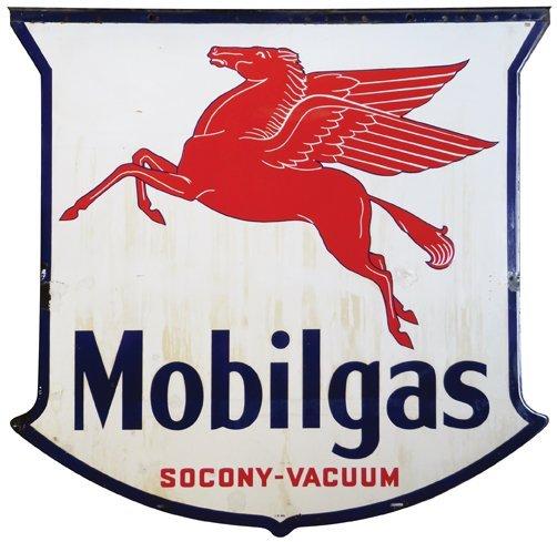 Mobilgas Pegasus Die Cut Porcelain Flange Sign