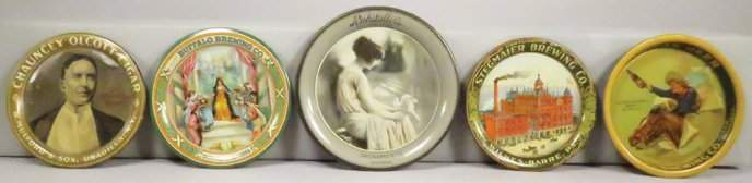 Collection of 5 Advertising Tin Tip Trays