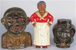 Three Cast Iron Black Americana Still Banks