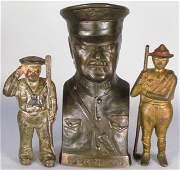 Three Cast Iron Military Motif Still Banks