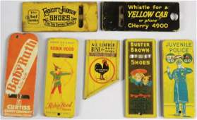 Collection of Tin Litho Advertising Whistles