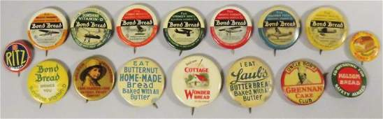 Collection of 16 Celluloid Advertising Pin Backs